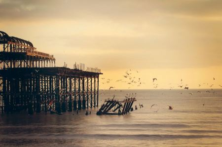 Free ruins of a pier or dock with seagulls