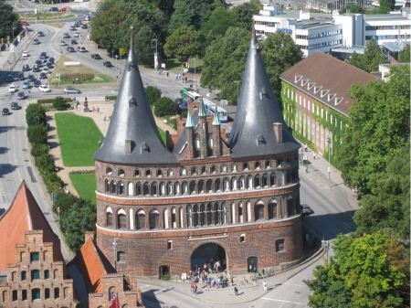 Free Aerial view Holstentor of Luebeck, Germany