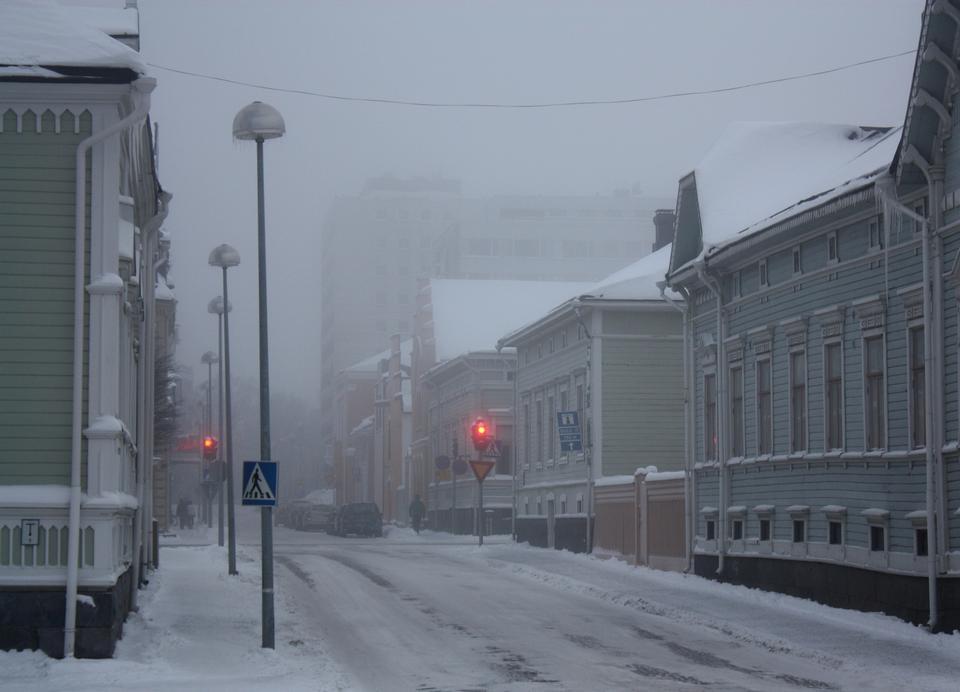 Free fog street Hallituskatu in Oulu Japan