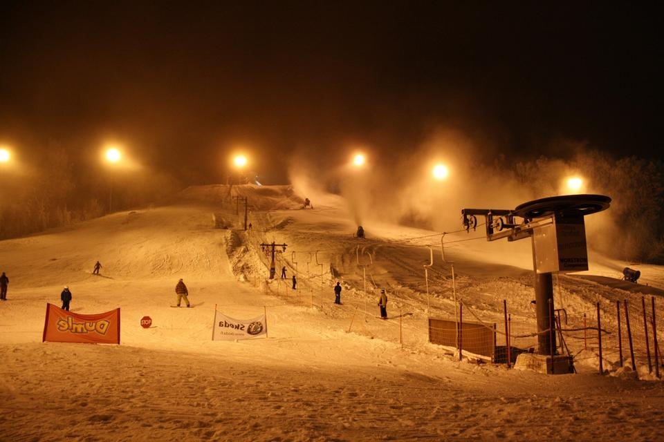 Free ski slopes  on a cloudy night