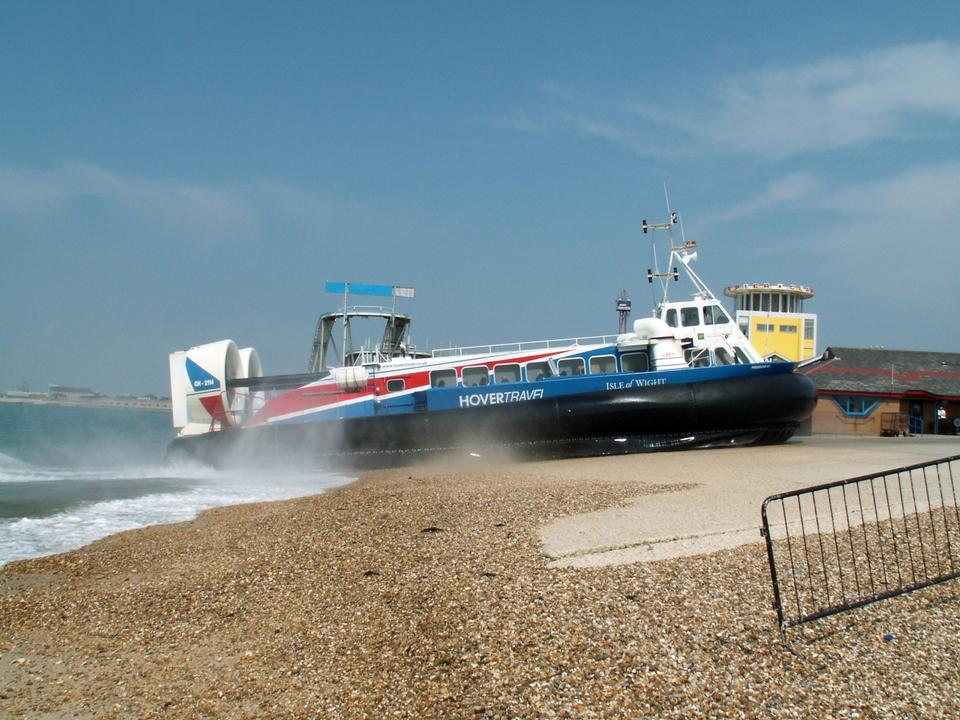 Free Hovercraft turning for departure on a beach