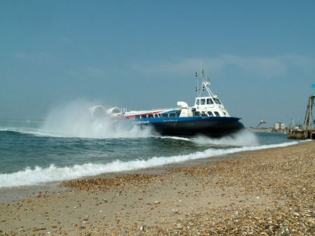 Free Hovercraft turning for departure on a beach, Southsea, UK
