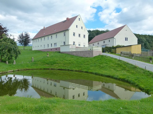 Free germany landscape scenic sky clouds house barn