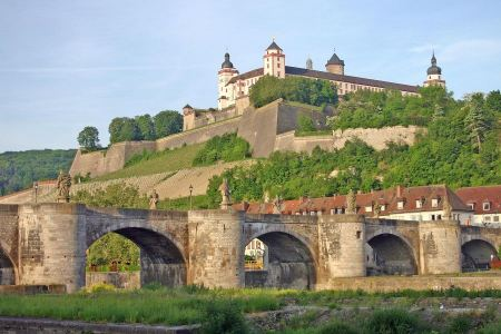 Free The Marienberg fortress and the Old Main Bridge in Wurzburg, Germ