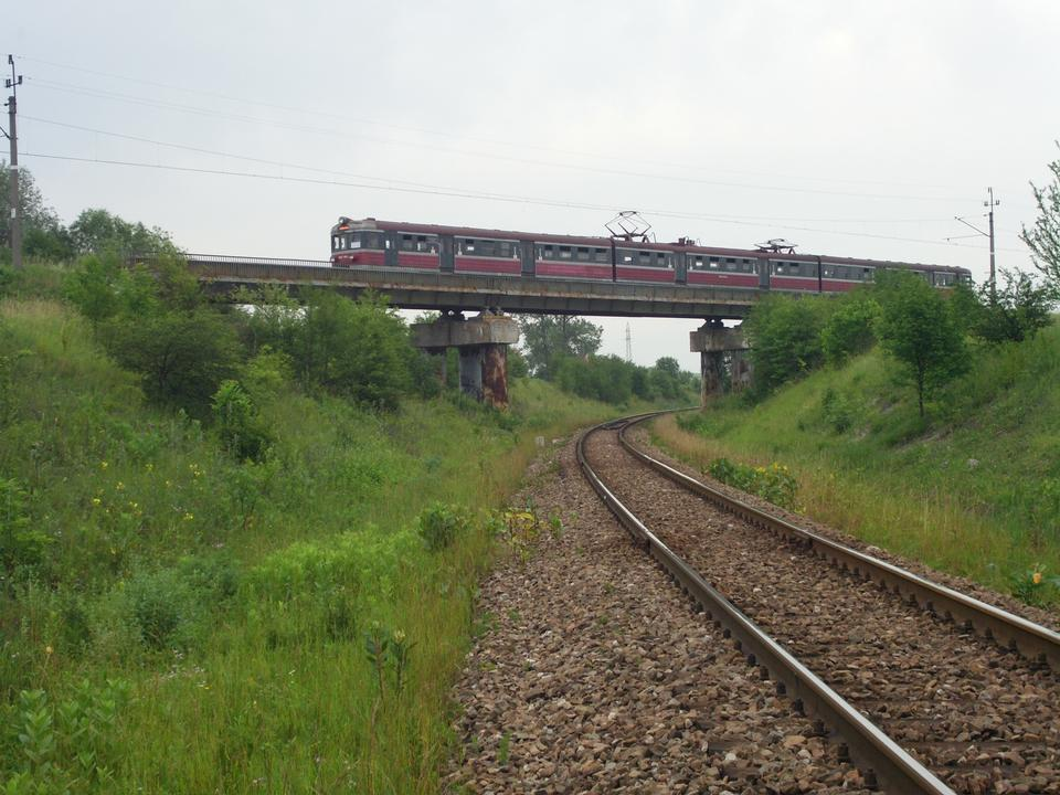 Free train passing the bridge in Poland