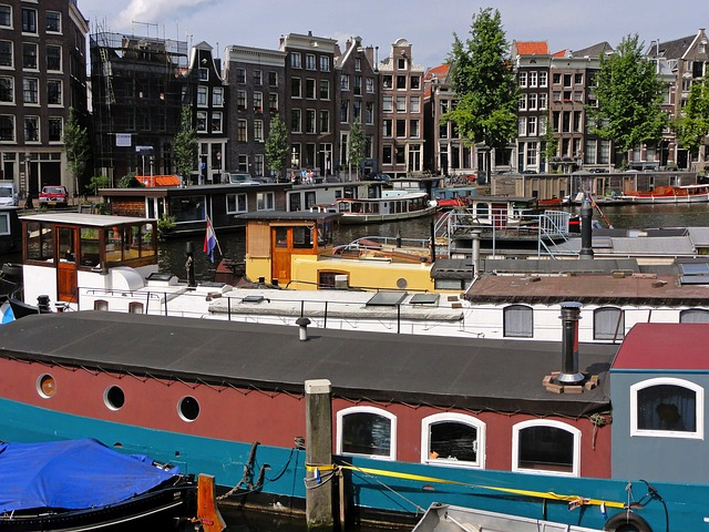 Free amsterdam netherlands boats ships buildings
