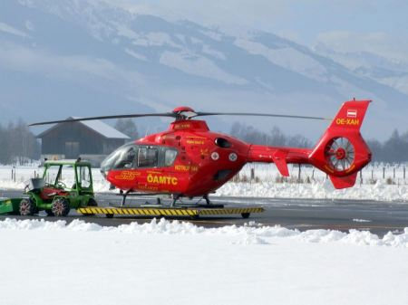 Free The rescue helicopter ready to evacuate skiier