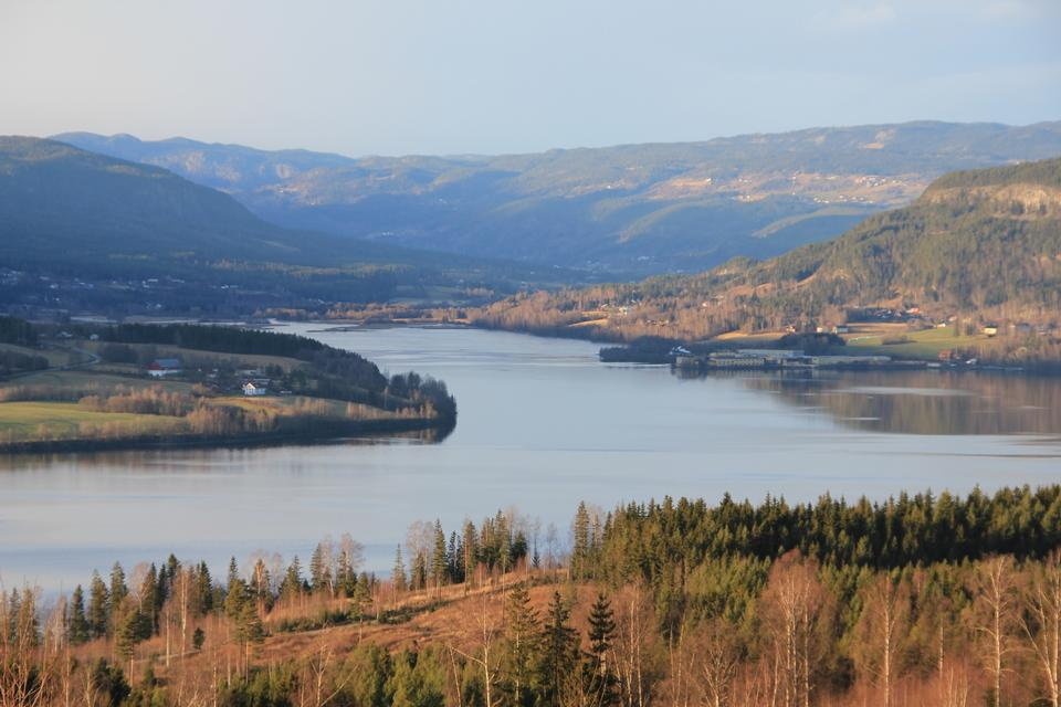 Free Lake Randsfjorden in Oppland, Norway