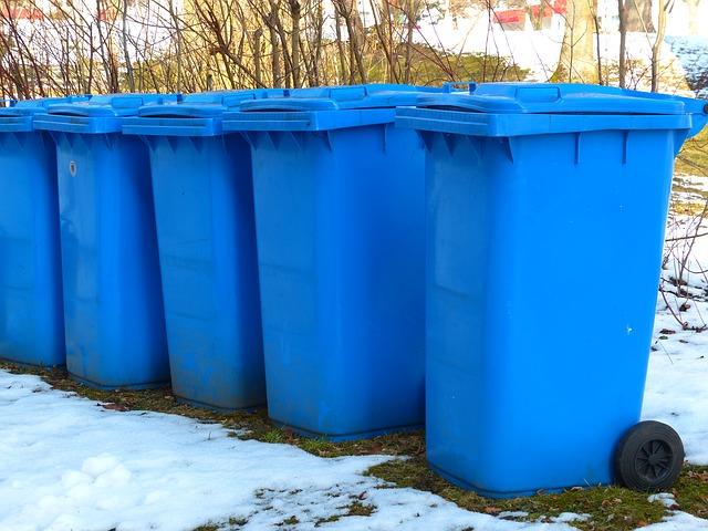Free dustbin paper wheelie bin blue tonne blue