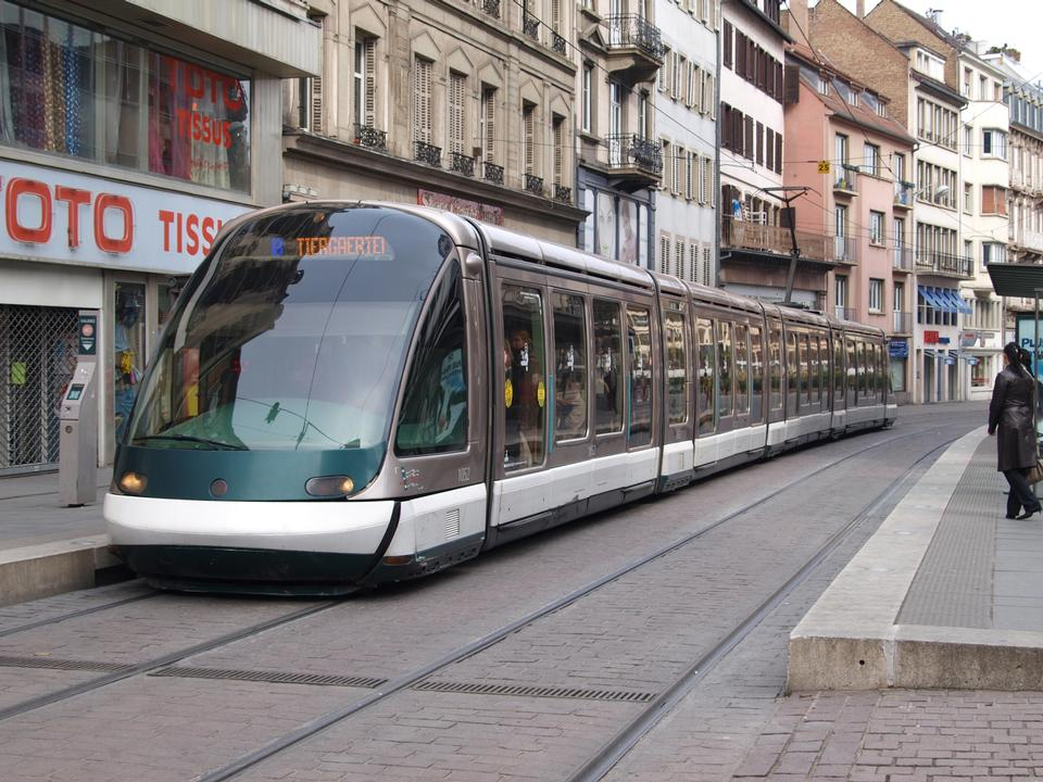 Free France, tram in the street the cities of Strasbourg