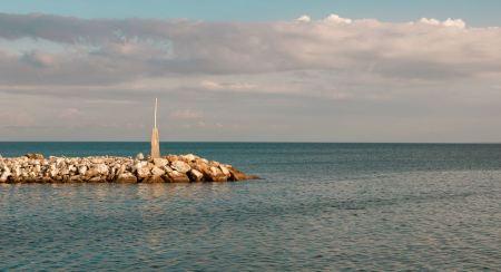 Free A rock breakwater