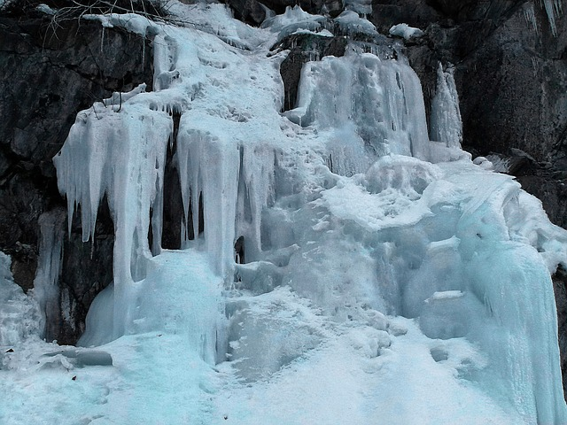 Free frozen waterfall ice water dripping season cold