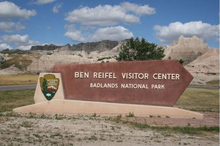 Free Sign for the Ben Reifel Visitor Center