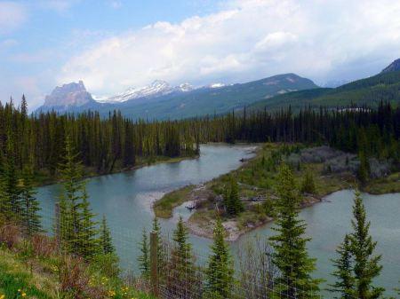 Free Bow River at Banff, Alberta, Canadian Rockies, Canada