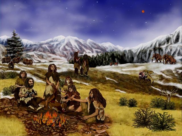 Free neanderthals prehistoric mountains animals