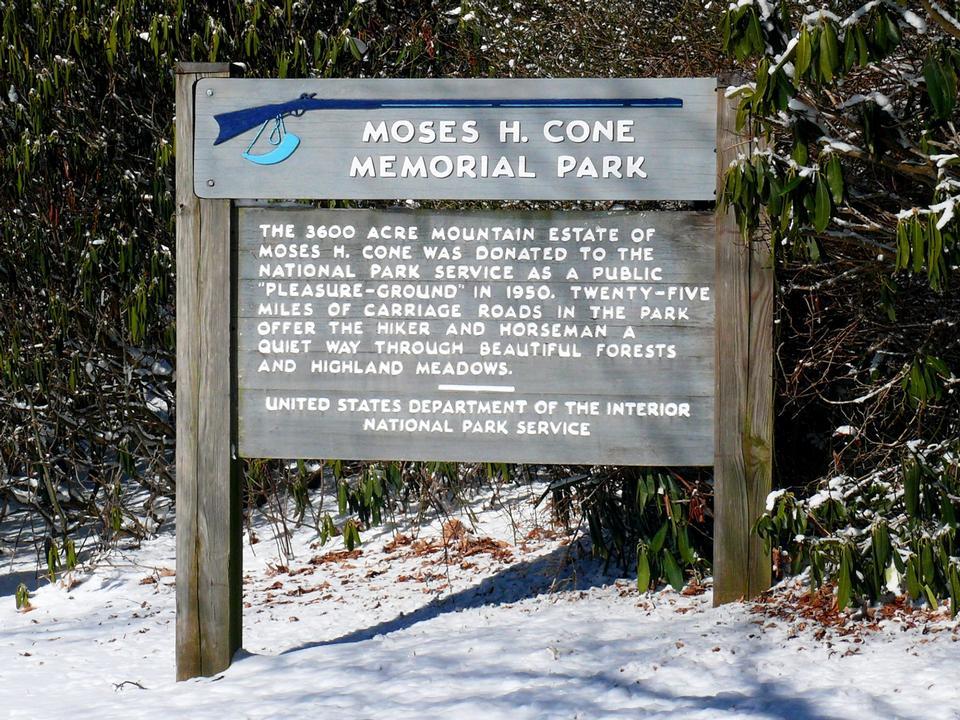 Free sign at Moses H. Cone Memorial Park