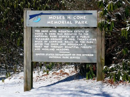 Free sign at Moses H. Cone Memorial Park