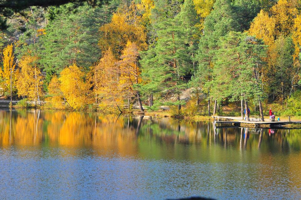 Free Lake Barn in the autumn. Sweden