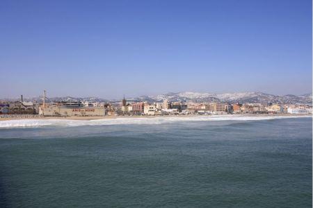 Free Mediterranean sand beach in Badalona, Spain