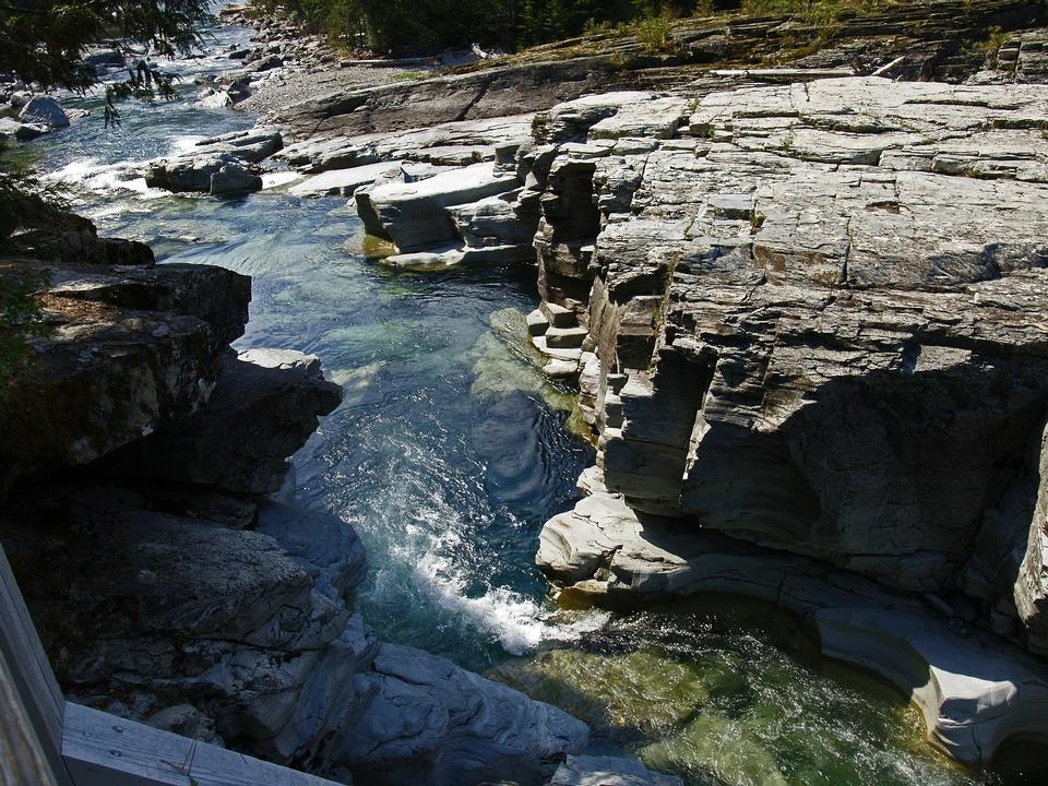 Free clear water in the rugged mountain river outdoors