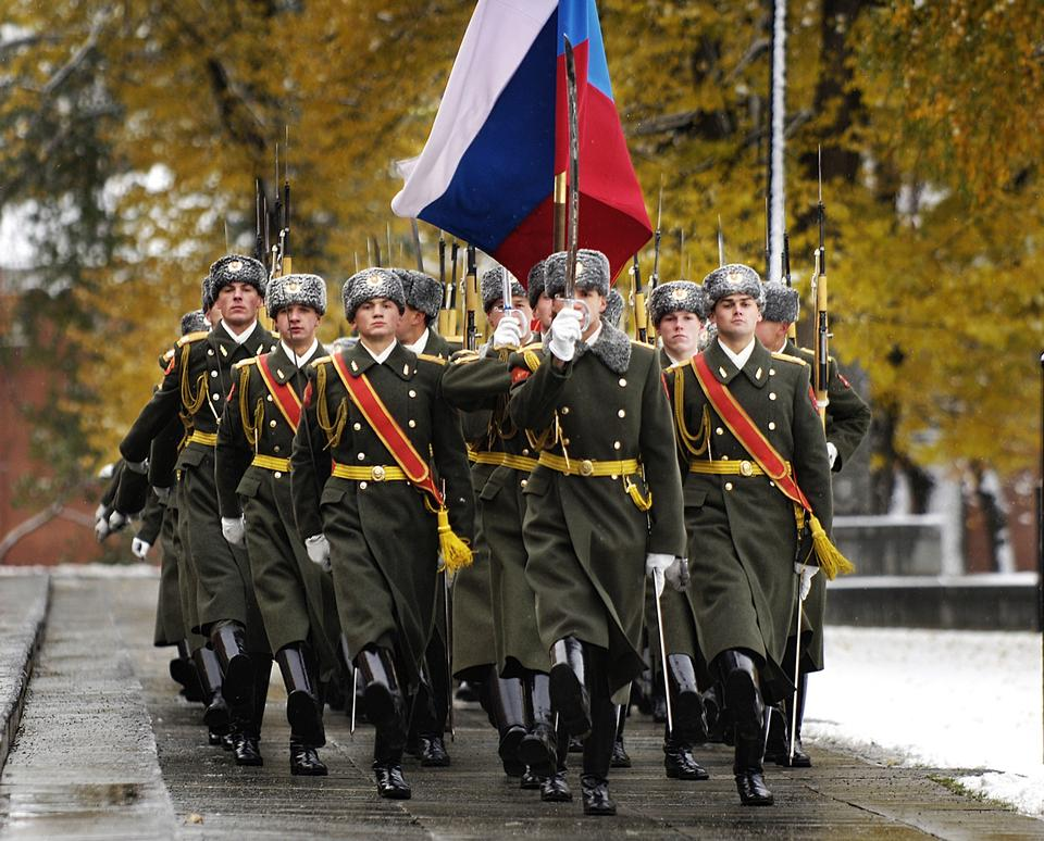 Free Russian honour guard perform
