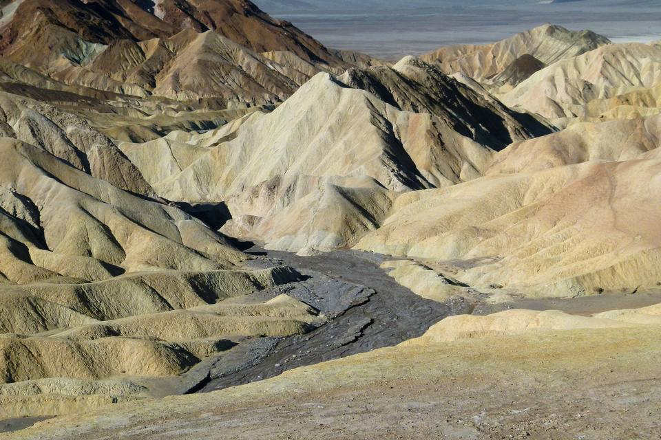 Free Moon Over Zabriskie Point Mudstones form Badlands Death Valley