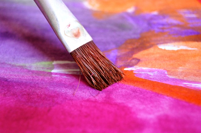 Free brush color paint child play art pink image