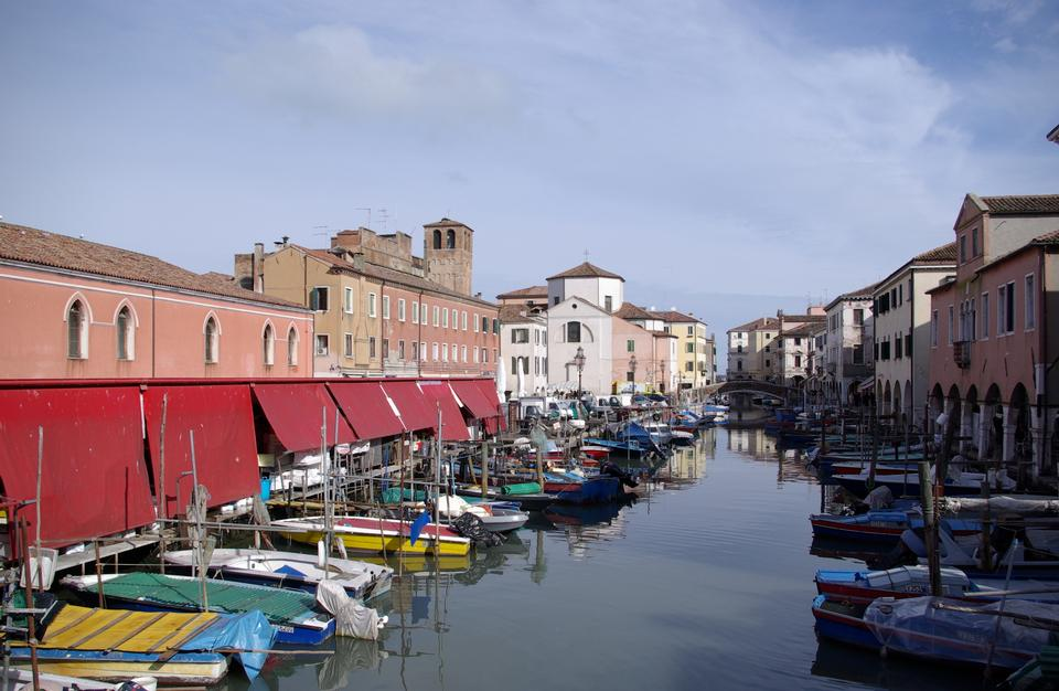Free Old wooden boats in the canal Chioggia, Italy