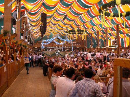 Free Loewenbraeu brewery at world biggest beer festival Oktoberfest i
