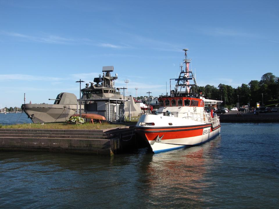 Free Finnish navy and rescue ship in the South Harbor of Helsinki