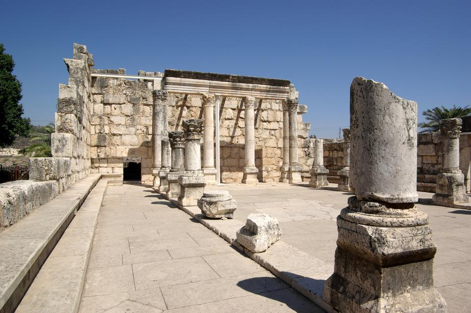 Free Ancient synagogue ruins in Capernaum in Israel