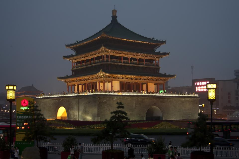 Free Night view of the Bell Tower in Xian, China