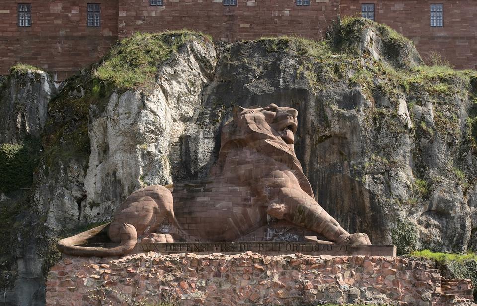 Free lion statue in castle of Belfort in france