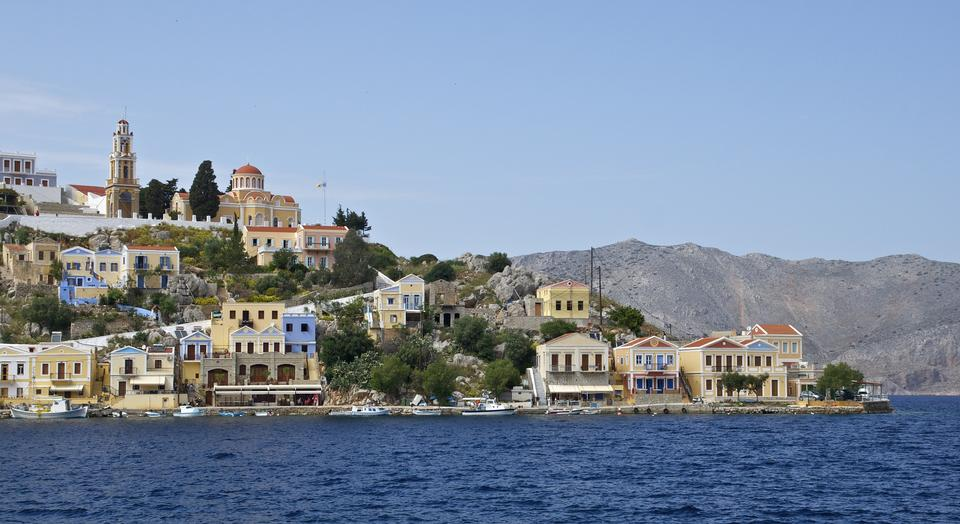 Free Symi island Landscape view, Aegean Sea Greece