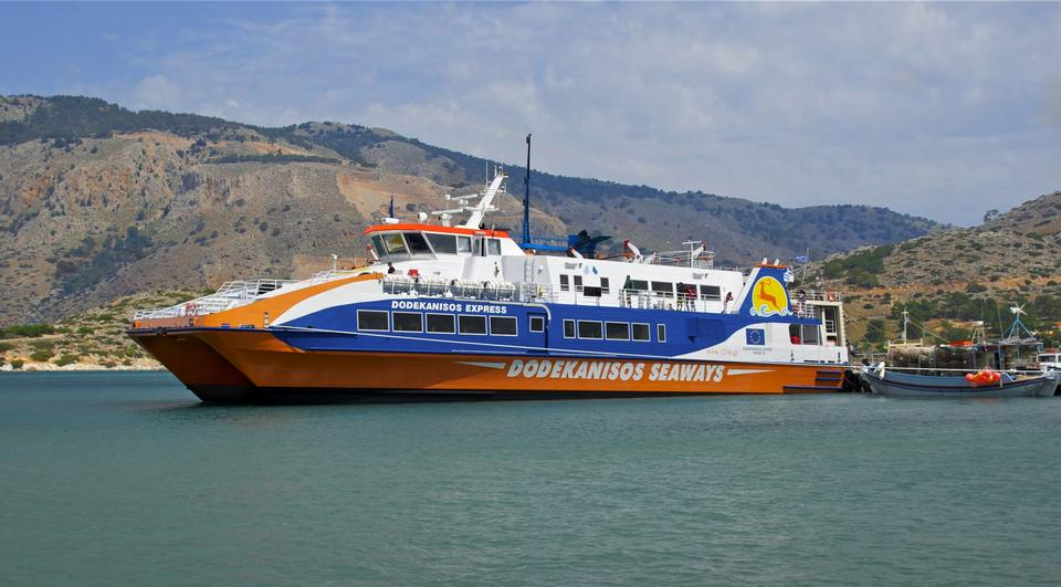 Free Ferry in the harbour of Panormitis, Symi Island