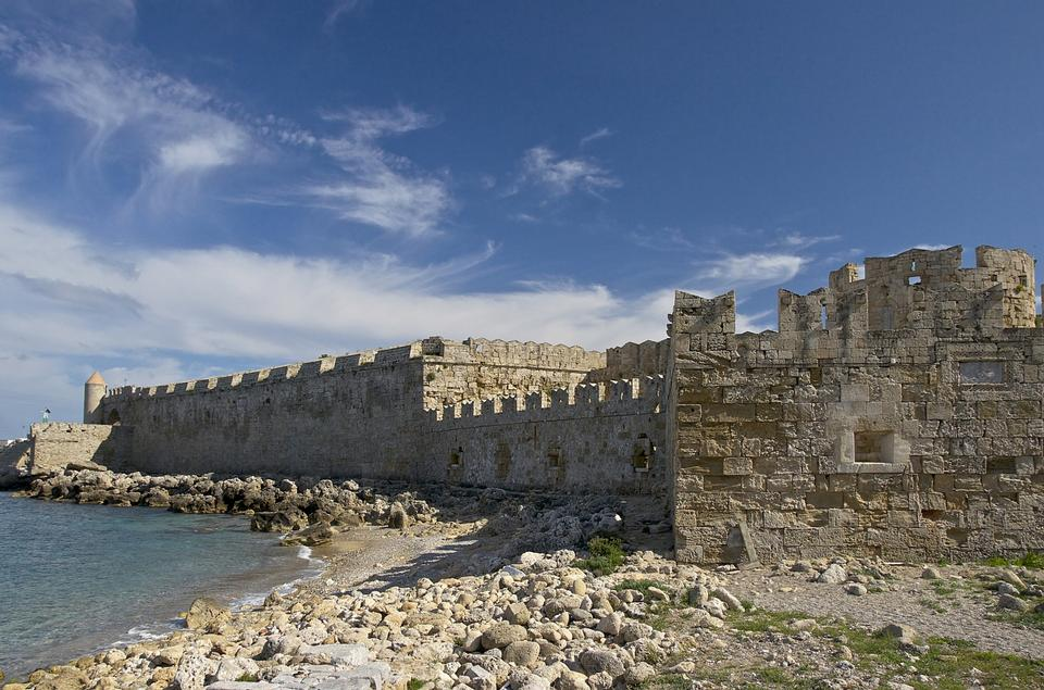 Free Greece. Rhodes. An ancient fortification round an old city