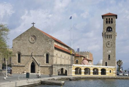 Free Evangelismos Church at Mandraki Harbour Rhodes Greece