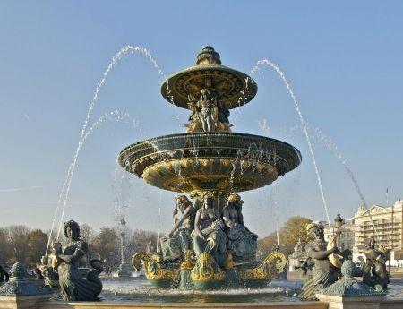 Free Fountain at the Place de la Concorde, Paris, France