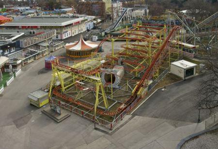 Free Roller coaster at Prater park in Vienna, Austria