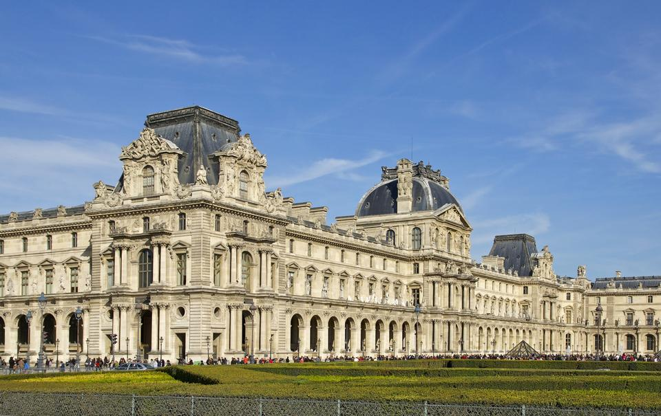 Free Louvre facade in Paris, France