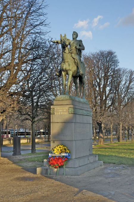 Free Monument to Simon Bolivar, South American political leader, in Pa