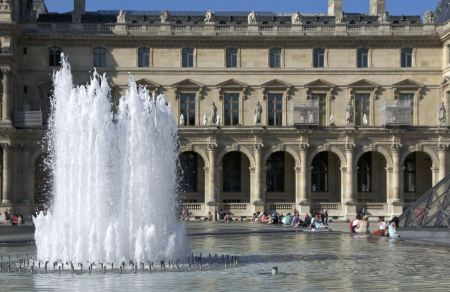 Free A fountain Louvre Palace, Paris, France