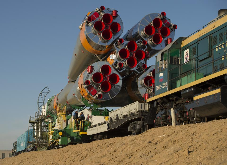 Free The Soyuz rocket is rolled out to the launch pad
