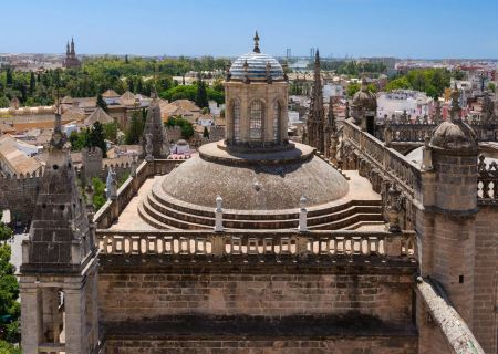 Free Roof of Seville cathedral from La Giralda of Seville cathedral in
