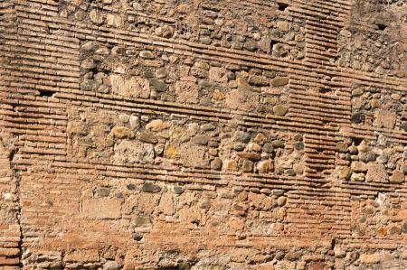 Free Wall of natural rough masonry