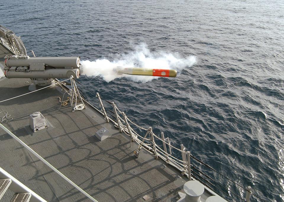 Free A MK-32 Mod 15 Surface Vessel Torpedo Tube fires