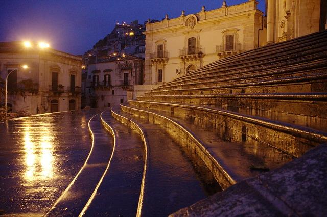 Free italy sicily modica rain twilight stairs