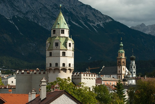 Free hall in tirol austria mountains sky clouds church