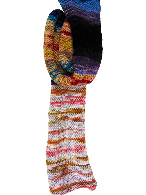 Free wool cat's cradle knit colorful hand labor scarf