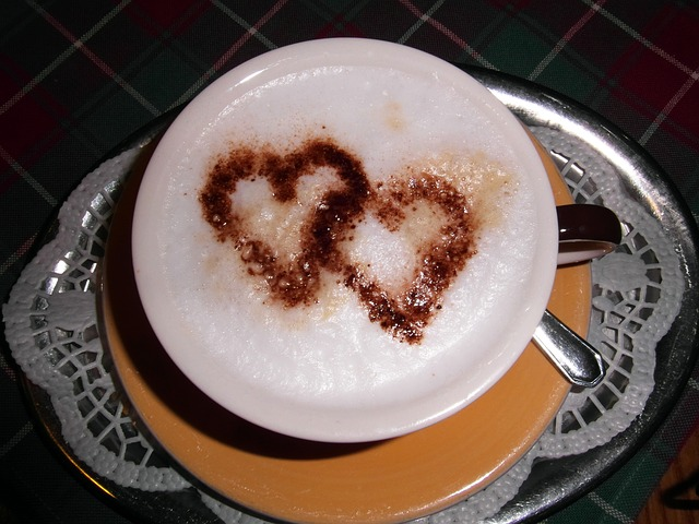 Free cappucino heart coffee cup cozy coffee cup drink